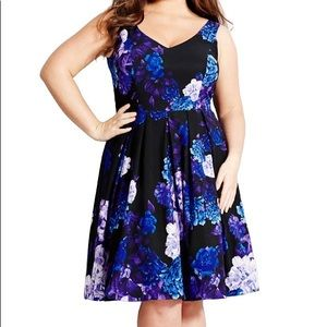 City Chic Black HYDRANGEA PRINT DRESS Xl 22
